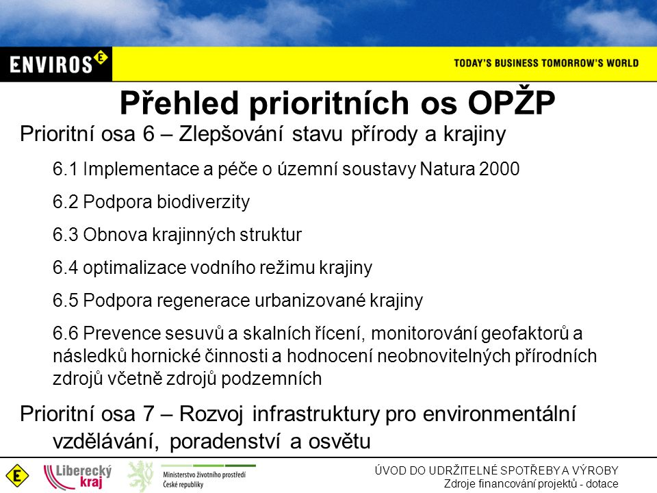 ÚVOD DO UDRŽITELNÉ SPOTŘEBY A VÝROBY Zdroje financování projektů - dotace Přehled prioritních os OPŽP Prioritní osa 6 – Zlepšování stavu přírody a krajiny 6.1 Implementace a péče o územní soustavy Natura 2000 6.2 Podpora biodiverzity 6.3 Obnova krajinných struktur 6.4 optimalizace vodního režimu krajiny 6.5 Podpora regenerace urbanizované krajiny 6.6 Prevence sesuvů a skalních řícení, monitorování geofaktorů a následků hornické činnosti a hodnocení neobnovitelných přírodních zdrojů včetně zdrojů podzemních Prioritní osa 7 – Rozvoj infrastruktury pro environmentální vzdělávání, poradenství a osvětu