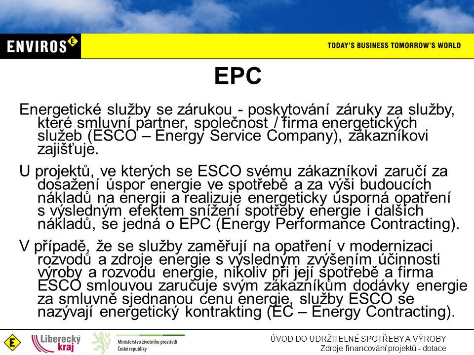 ÚVOD DO UDRŽITELNÉ SPOTŘEBY A VÝROBY Zdroje financování projektů - dotace EPC Energetické služby se zárukou - poskytování záruky za služby, které smlu