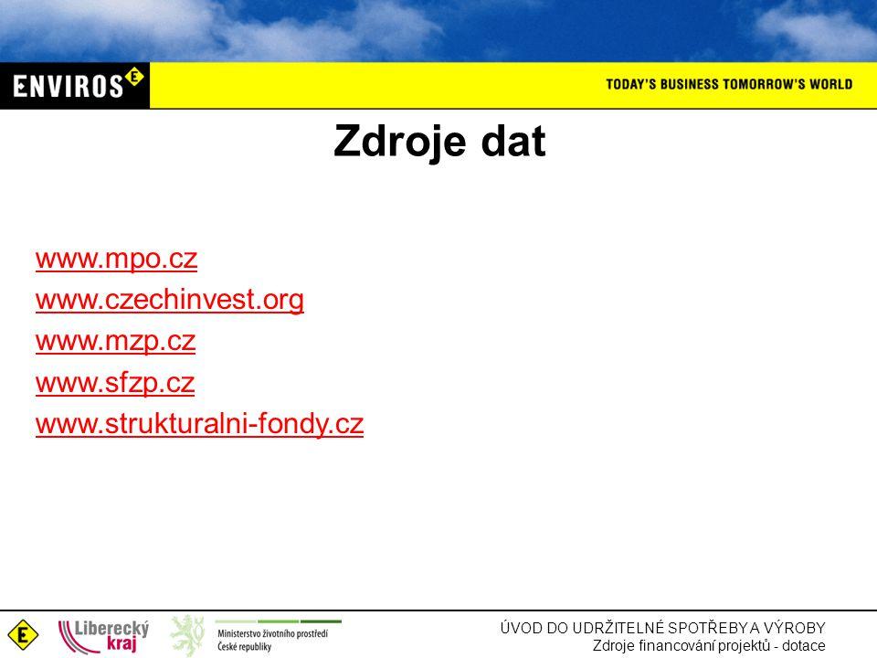 ÚVOD DO UDRŽITELNÉ SPOTŘEBY A VÝROBY Zdroje financování projektů - dotace Zdroje dat www.mpo.cz www.czechinvest.org www.mzp.cz www.sfzp.cz www.struktu
