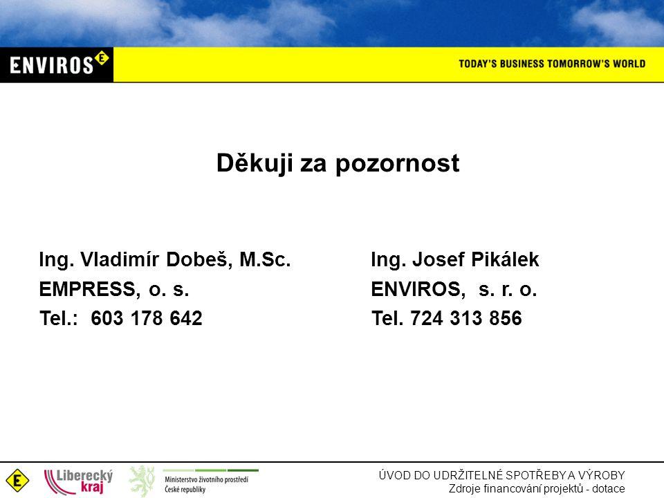 ÚVOD DO UDRŽITELNÉ SPOTŘEBY A VÝROBY Zdroje financování projektů - dotace Děkuji za pozornost Ing. Vladimír Dobeš, M.Sc.Ing. Josef Pikálek EMPRESS, o.