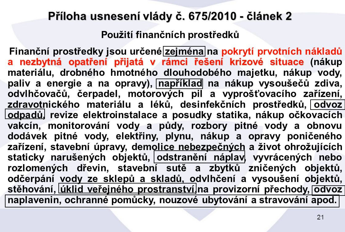 21 Příloha usnesení vlády č.