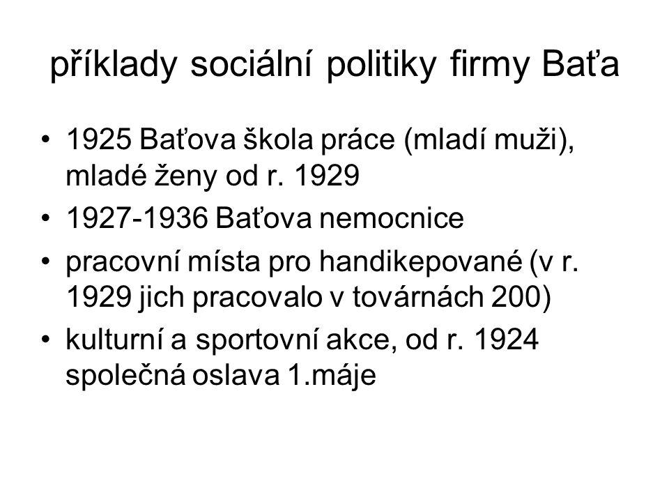 příklady sociální politiky firmy Baťa •1925 Baťova škola práce (mladí muži), mladé ženy od r. 1929 •1927-1936 Baťova nemocnice •pracovní místa pro han