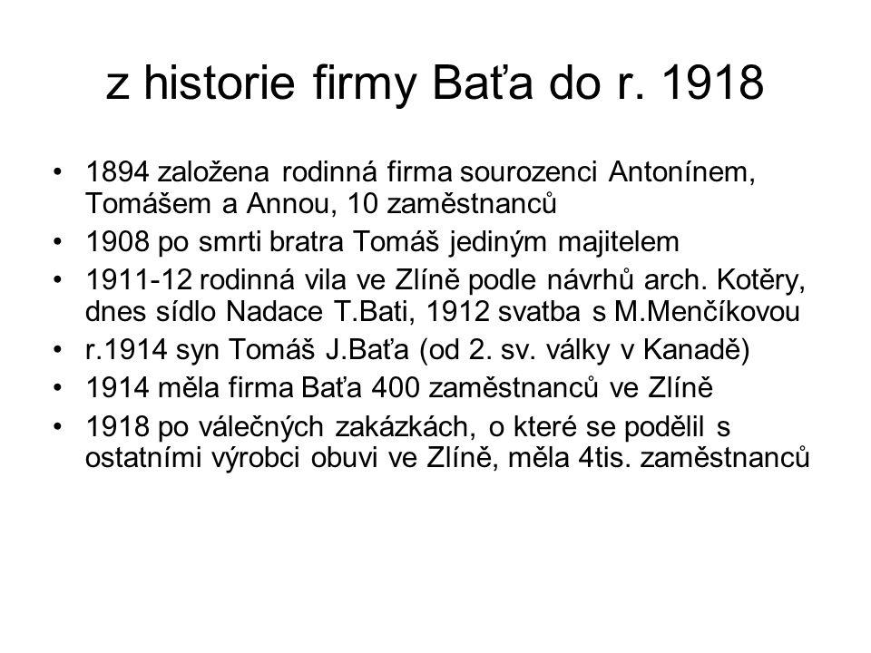 z historie firmy Baťa do r. 1918 •1894 založena rodinná firma sourozenci Antonínem, Tomášem a Annou, 10 zaměstnanců •1908 po smrti bratra Tomáš jediný