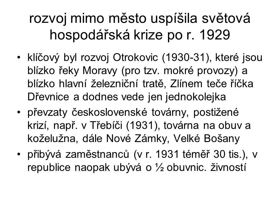 rozvoj mimo město uspíšila světová hospodářská krize po r. 1929 •klíčový byl rozvoj Otrokovic (1930-31), které jsou blízko řeky Moravy (pro tzv. mokré