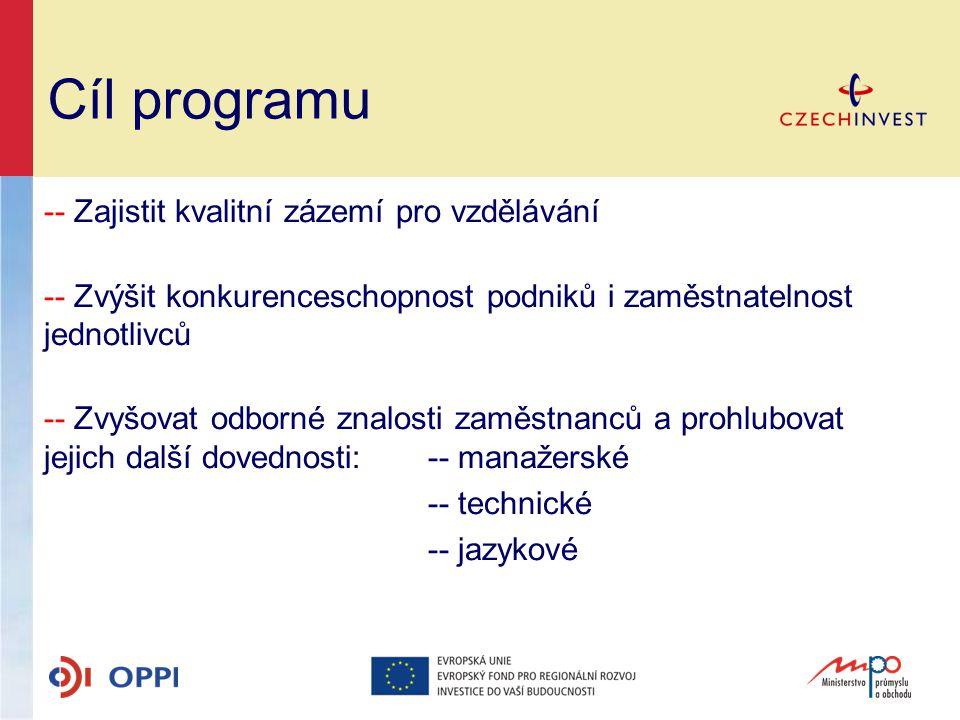 Cíl programu -- Zajistit kvalitní zázemí pro vzdělávání -- Zvýšit konkurenceschopnost podniků i zaměstnatelnost jednotlivců -- Zvyšovat odborné znalos