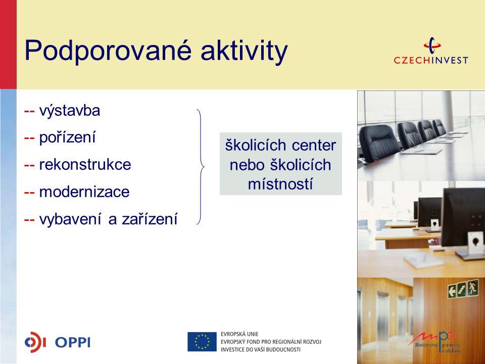 Podporované aktivity -- výstavba -- pořízení -- rekonstrukce -- modernizace -- vybavení a zařízení školicích center nebo školicích místností