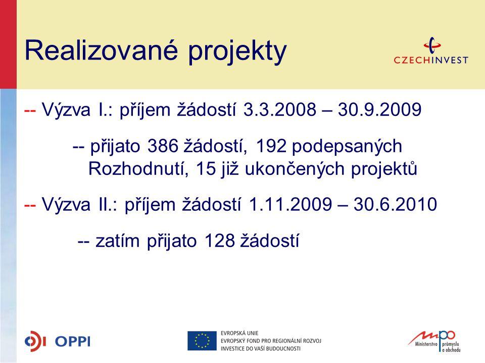 Realizované projekty -- Výzva I.: příjem žádostí 3.3.2008 – 30.9.2009 -- přijato 386 žádostí, 192 podepsaných Rozhodnutí, 15 již ukončených projektů -