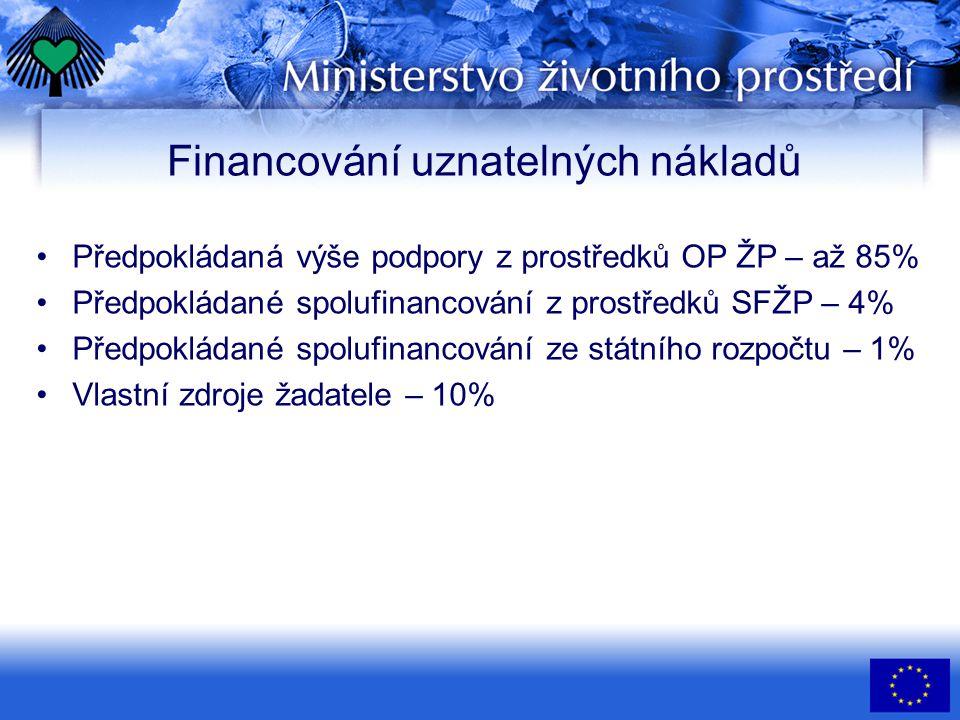 Financování uznatelných nákladů •Předpokládaná výše podpory z prostředků OP ŽP – až 85% •Předpokládané spolufinancování z prostředků SFŽP – 4% •Předpo