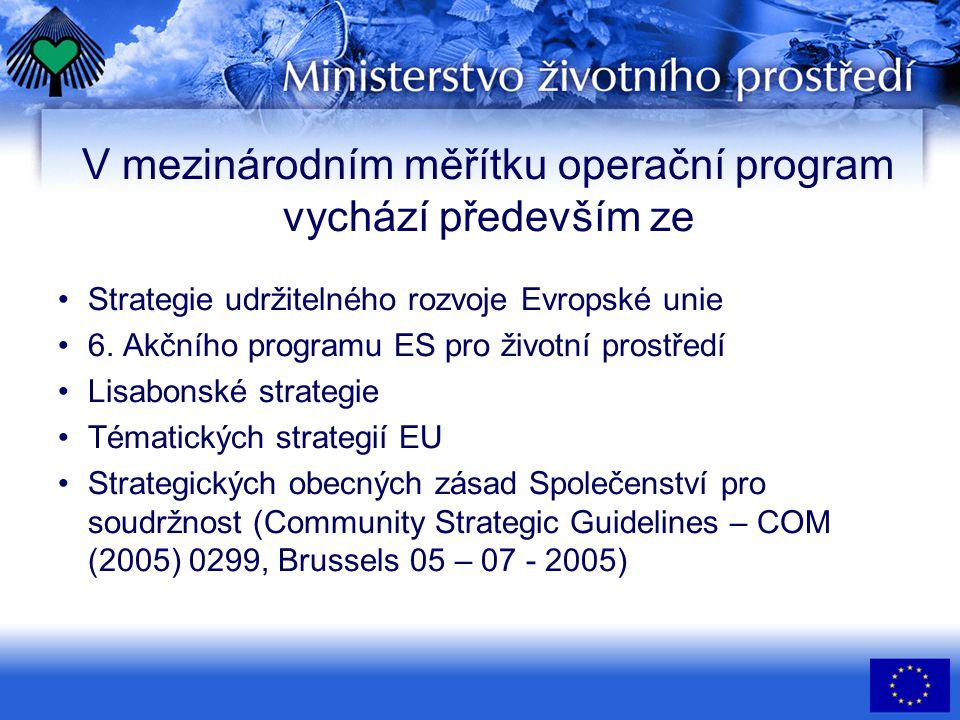 Implementace programu •Řídícím orgánem bylo určeno MŽP •Zprostředkujícím subjektem bude SFŽP ČR – přijímání žádostí o podporu z OP ŽP a další kompetence •Řídící orgán deleguje výkon některých činností na Zprostředkující subjekt •Směrnice pro předkládání žádostí do OP ŽP je na webových stránkách MŽP •Řídící výbor — zásadní otázky koncepce a realizace OP ŽP; operativní provádění zajišťuje Zprostředkující subjekt •Monitorovací výbor — kritéria pro výběr projektů, kontroluje a monitoruje realizaci