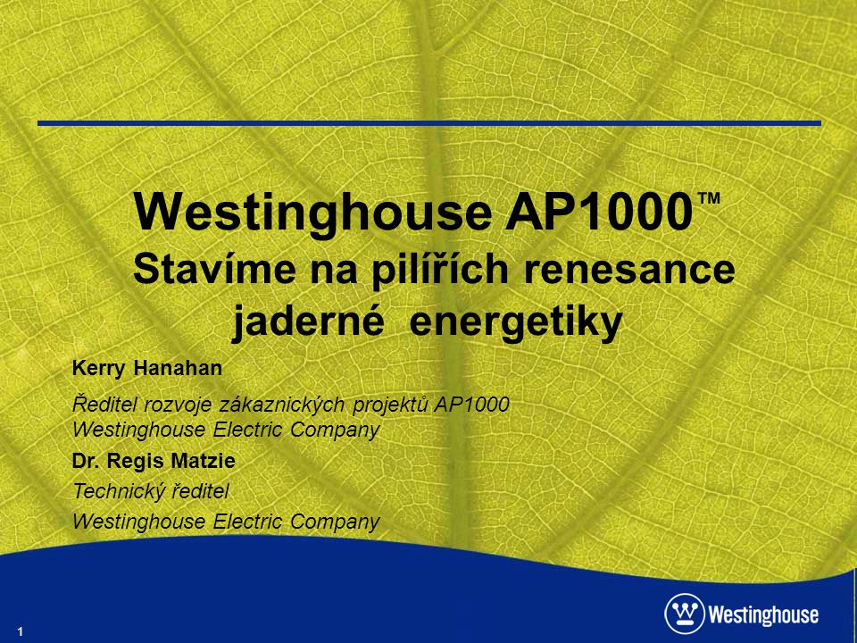 1 Westinghouse AP1000 ™ Stavíme na pilířích renesance jaderné energetiky Kerry Hanahan Ředitel rozvoje zákaznických projektů AP1000 Westinghouse Elect