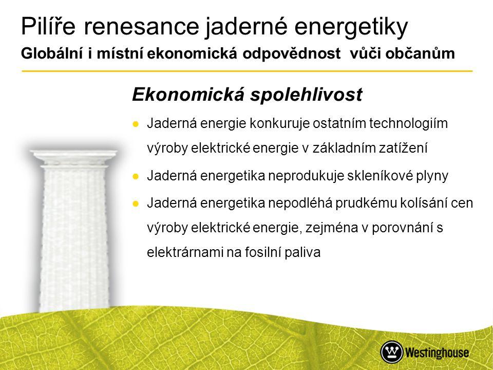 10 Pilíře renesance jaderné energetiky Globální i místní ekonomická odpovědnost vůči občanům Ekonomická spolehlivost ●Jaderná energie konkuruje ostatn