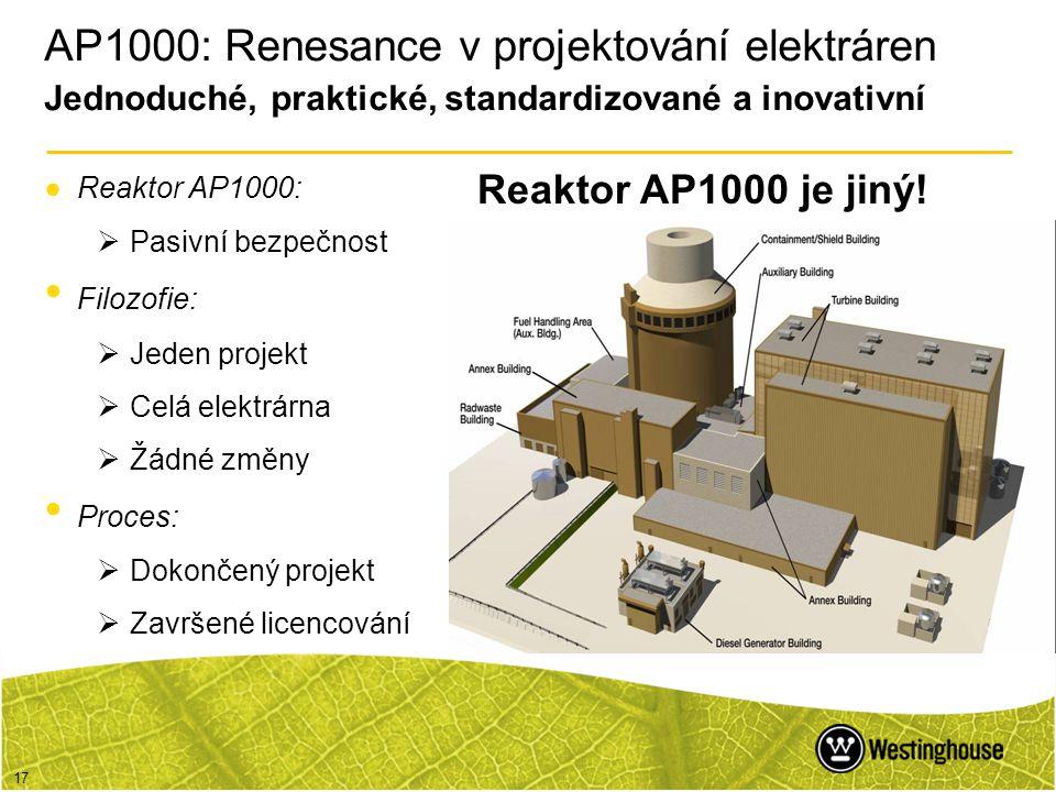 17 AP1000: Renesance v projektování elektráren Jednoduché, praktické, standardizované a inovativní ●Reaktor AP1000:  Pasivní bezpečnost • Filozofie: