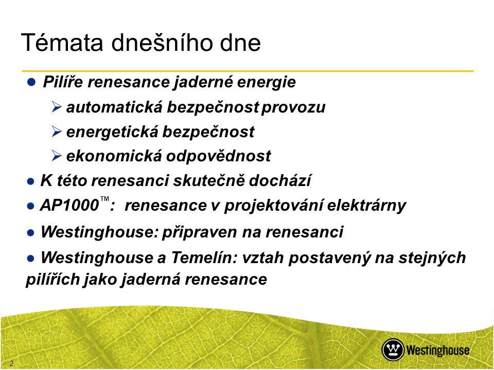 2 Témata dnešního dne ● Pilíře renesance jaderné energie  automatická bezpečnost provozu  energetická bezpečnost  ekonomická odpovědnost ● K této r