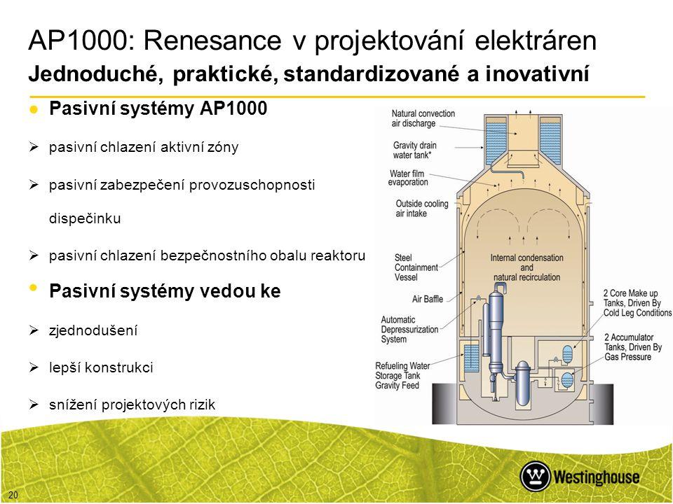 20 ●Pasivní systémy AP1000  pasivní chlazení aktivní zóny  pasivní zabezpečení provozuschopnosti dispečinku  pasivní chlazení bezpečnostního obalu