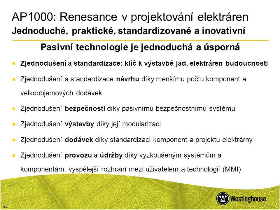 23 Pasivní technologie je jednoduchá a úsporná ●Zjednodušení a standardizace: klíč k výstavbě jad. elektráren budoucnosti ●Zjednodušení a standardizac
