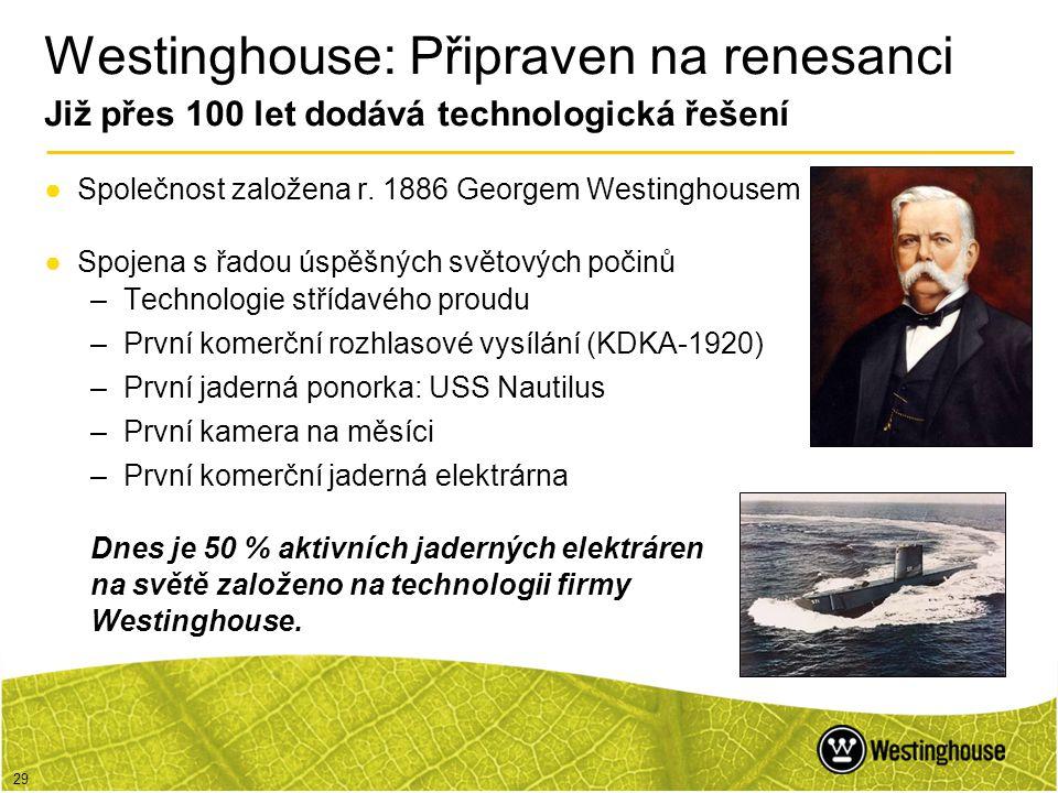 29 Westinghouse: Připraven na renesanci Již přes 100 let dodává technologická řešení ●Společnost založena r. 1886 Georgem Westinghousem ●Spojena s řad