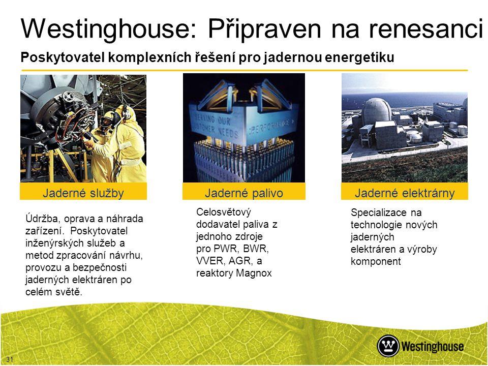 31 Westinghouse: Připraven na renesanci Poskytovatel komplexních řešení pro jadernou energetiku Celosvětový dodavatel paliva z jednoho zdroje pro PWR,
