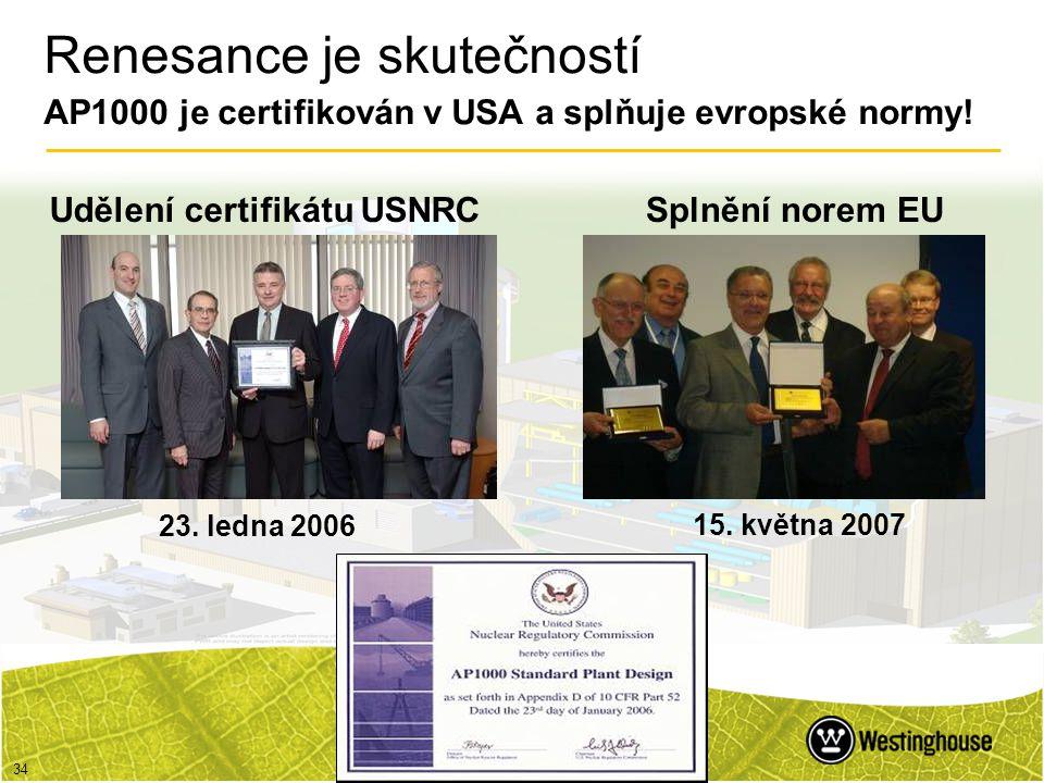 34 Renesance je skutečností AP1000 je certifikován v USA a splňuje evropské normy! Splnění norem EU 15. května 2007 23. ledna 2006 Udělení certifikátu