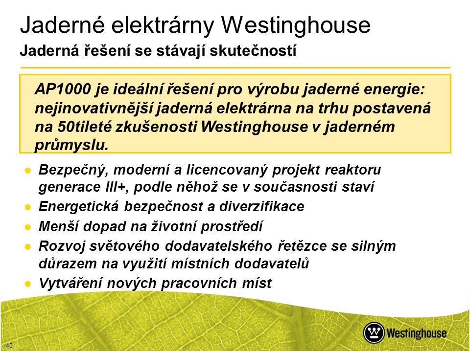 40 Jaderné elektrárny Westinghouse Jaderná řešení se stávají skutečností ●Bezpečný, moderní a licencovaný projekt reaktoru generace III+, podle něhož
