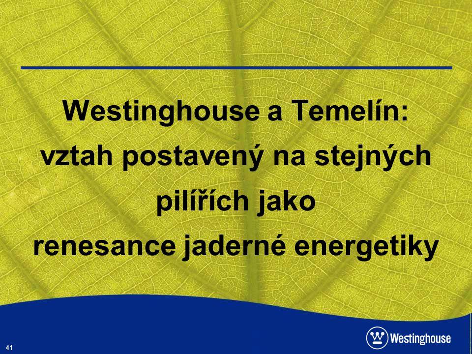 41 Westinghouse a Temelín: vztah postavený na stejných pilířích jako renesance jaderné energetiky