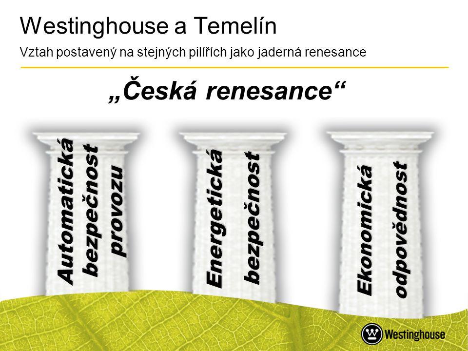 """42 Westinghouse a Temelín Vztah postavený na stejných pilířích jako jaderná renesance """"Česká renesance"""" Automatická bezpečnost provozu Ekonomická odpo"""