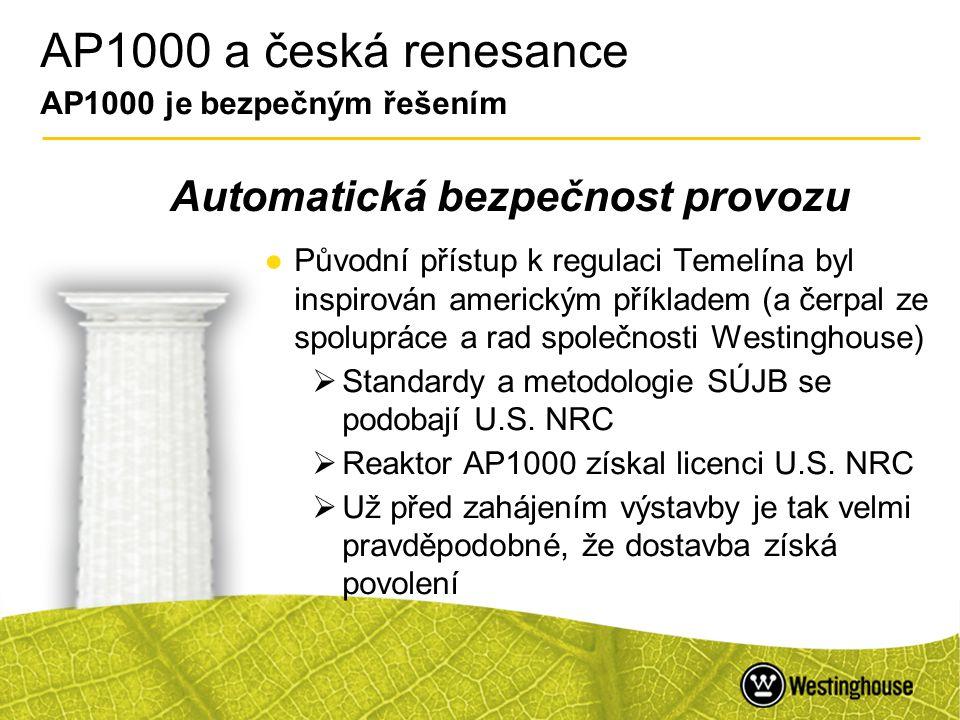 43 AP1000 a česká renesance AP1000 je bezpečným řešením ●Původní přístup k regulaci Temelína byl inspirován americkým příkladem (a čerpal ze spoluprác