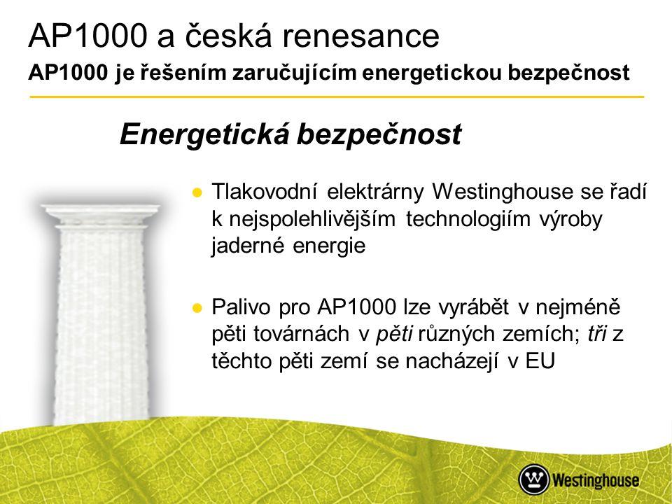 44 AP1000 a česká renesance AP1000 je řešením zaručujícím energetickou bezpečnost ●Tlakovodní elektrárny Westinghouse se řadí k nejspolehlivějším tech