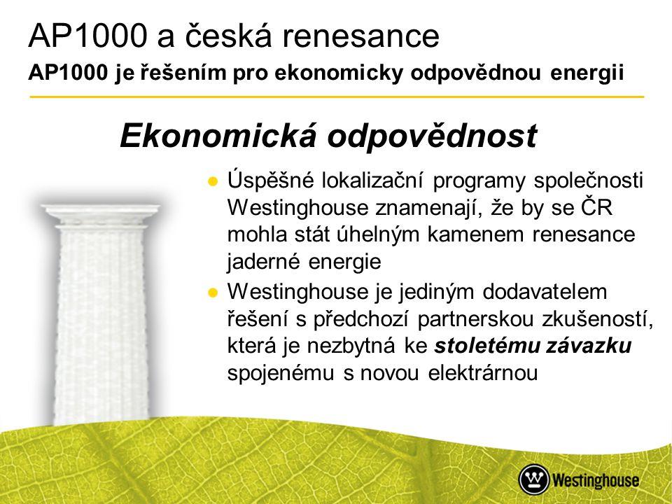 45 AP1000 a česká renesance AP1000 je řešením pro ekonomicky odpovědnou energii ●Úspěšné lokalizační programy společnosti Westinghouse znamenají, že b