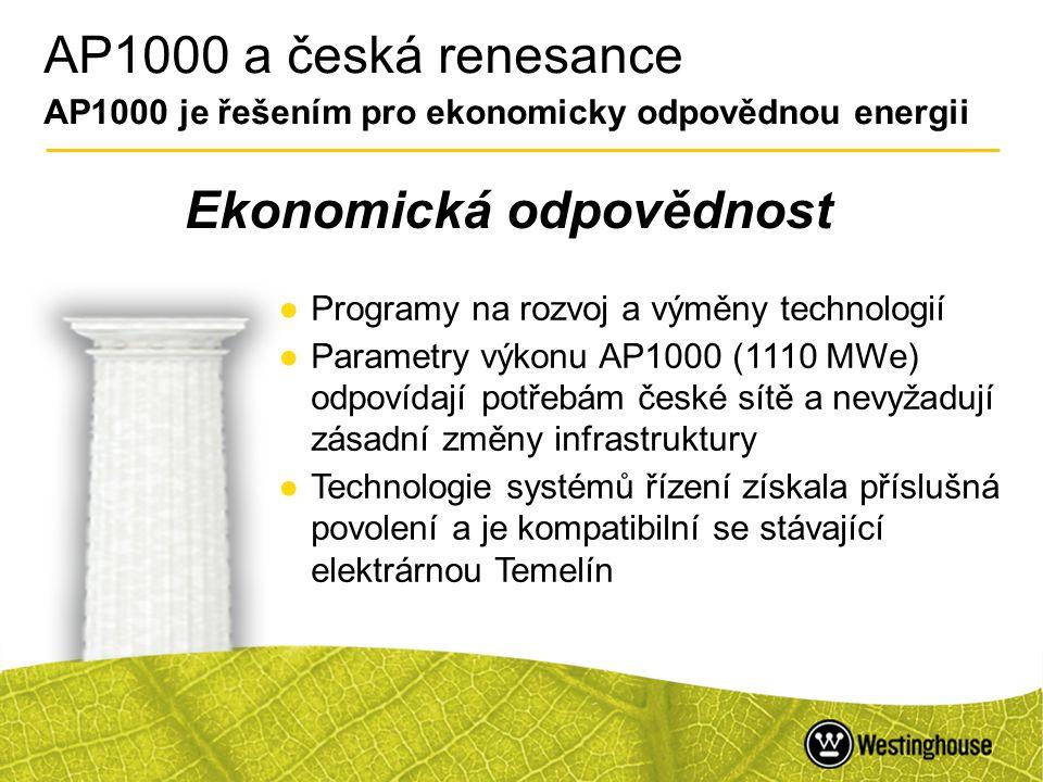 46 AP1000 a česká renesance AP1000 je řešením pro ekonomicky odpovědnou energii Ekonomická odpovědnost ●Programy na rozvoj a výměny technologií ●Param