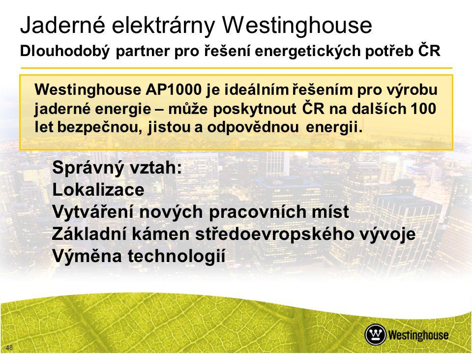 48 Jaderné elektrárny Westinghouse Dlouhodobý partner pro řešení energetických potřeb ČR Správný vztah: Lokalizace Vytváření nových pracovních míst Zá