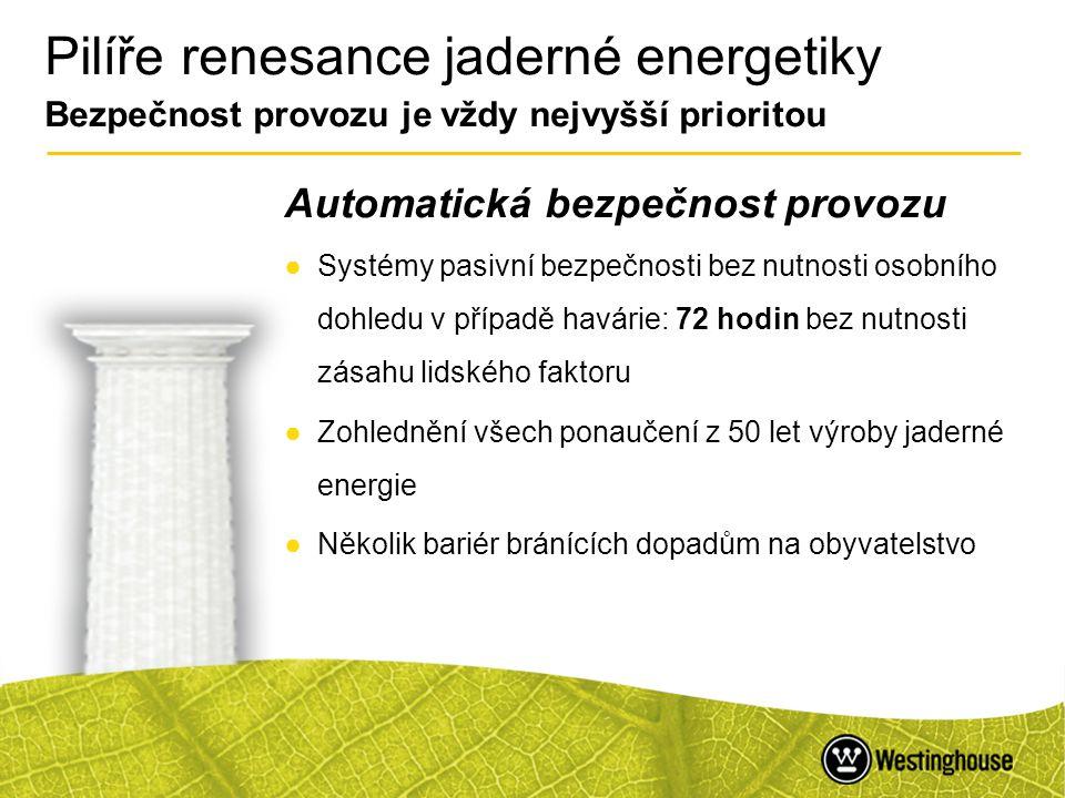 9 Pilíře renesance jaderné energetiky Jistota dodávek elektrické energie v základním zatížení Energetická bezpečnost ●Jaderná energetika je nejspolehlivější technologií výroby elektrické energie ●Různorodost palivových zdrojů přináší nezávislost na nestabilních světových regionech ●Různorodost palivových zdrojů k výrobě energie v základním zatížení zajišťuje menší závislost na uhlíkových technologiích ●Možnost skladování paliva 18 měsíců