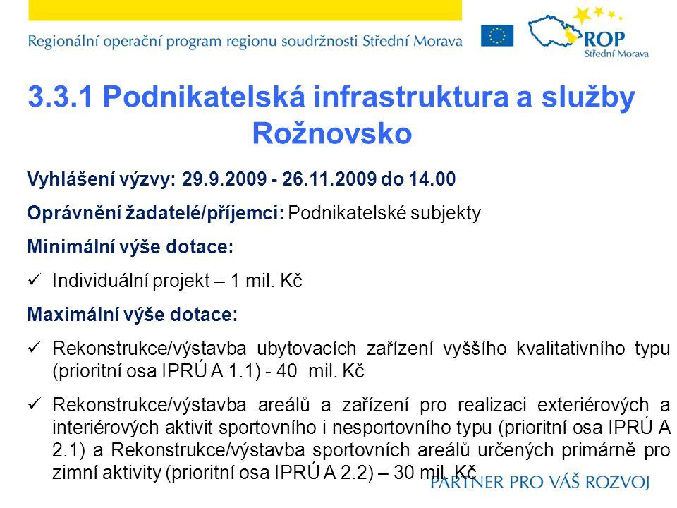 3.3.1 Podnikatelská infrastruktura a služby Rožnovsko Vyhlášení výzvy: 29.9.2009 - 26.11.2009 do 14.00 Oprávnění žadatelé/příjemci: Podnikatelské subjekty Minimální výše dotace:  Individuální projekt – 1 mil.