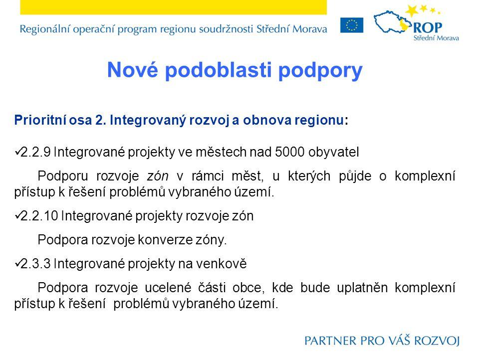 Nové podoblasti podpory Prioritní osa 2.