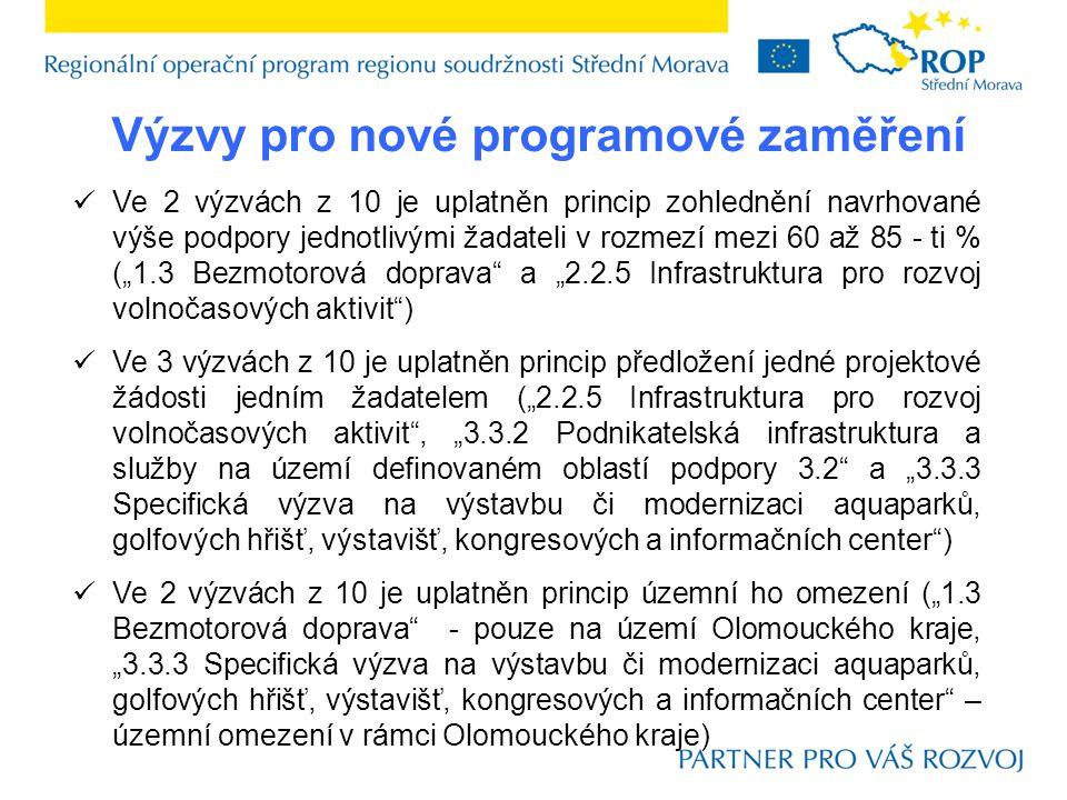"""Výzvy pro nové programové zaměření  Ve 2 výzvách z 10 je uplatněn princip zohlednění navrhované výše podpory jednotlivými žadateli v rozmezí mezi 60 až 85 - ti % (""""1.3 Bezmotorová doprava a """"2.2.5 Infrastruktura pro rozvoj volnočasových aktivit )  Ve 3 výzvách z 10 je uplatněn princip předložení jedné projektové žádosti jedním žadatelem (""""2.2.5 Infrastruktura pro rozvoj volnočasových aktivit , """"3.3.2 Podnikatelská infrastruktura a služby na území definovaném oblastí podpory 3.2 a """"3.3.3 Specifická výzva na výstavbu či modernizaci aquaparků, golfových hřišť, výstavišť, kongresových a informačních center )  Ve 2 výzvách z 10 je uplatněn princip územní ho omezení (""""1.3 Bezmotorová doprava - pouze na území Olomouckého kraje, """"3.3.3 Specifická výzva na výstavbu či modernizaci aquaparků, golfových hřišť, výstavišť, kongresových a informačních center – územní omezení v rámci Olomouckého kraje)"""