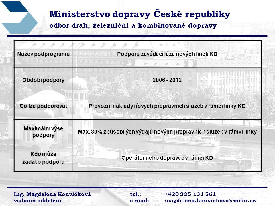 Ministerstvo dopravy České republiky odbor drah, železniční a kombinované dopravy Ing.