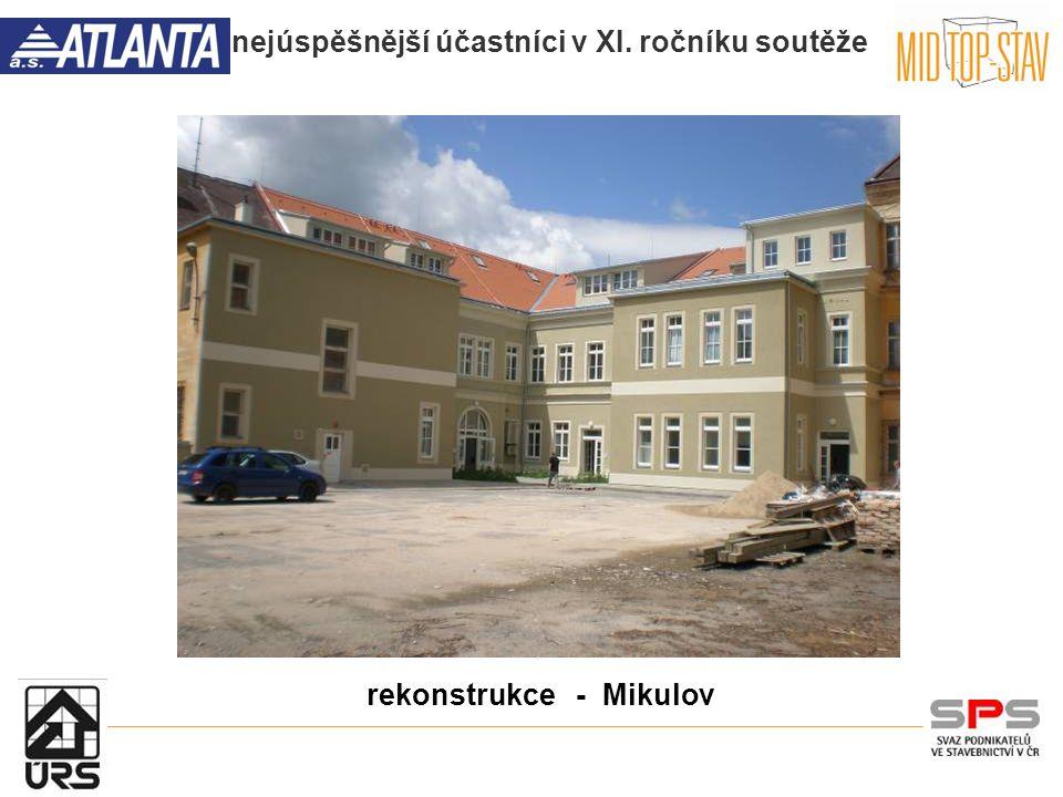 nejúspěšnější účastníci v XI. ročníku soutěže rekonstrukce - Mikulov