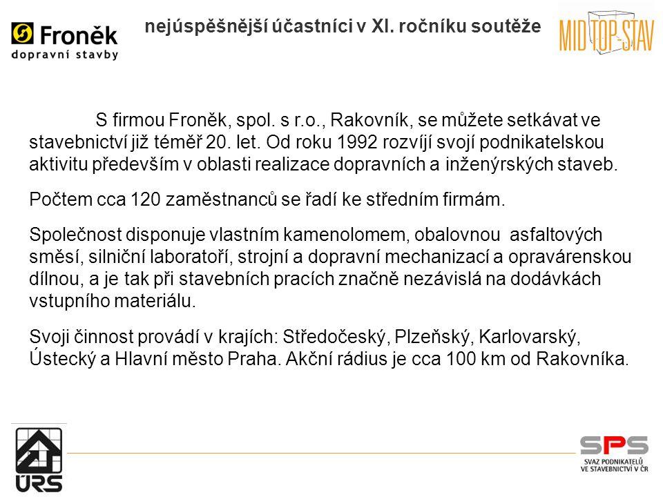 nejúspěšnější účastníci v XI. ročníku soutěže S firmou Froněk, spol.