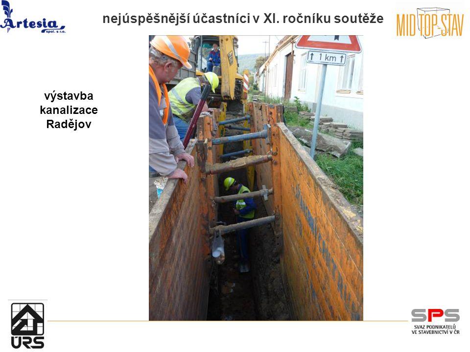 nejúspěšnější účastníci v XI. ročníku soutěže výstavba kanalizace Radějov