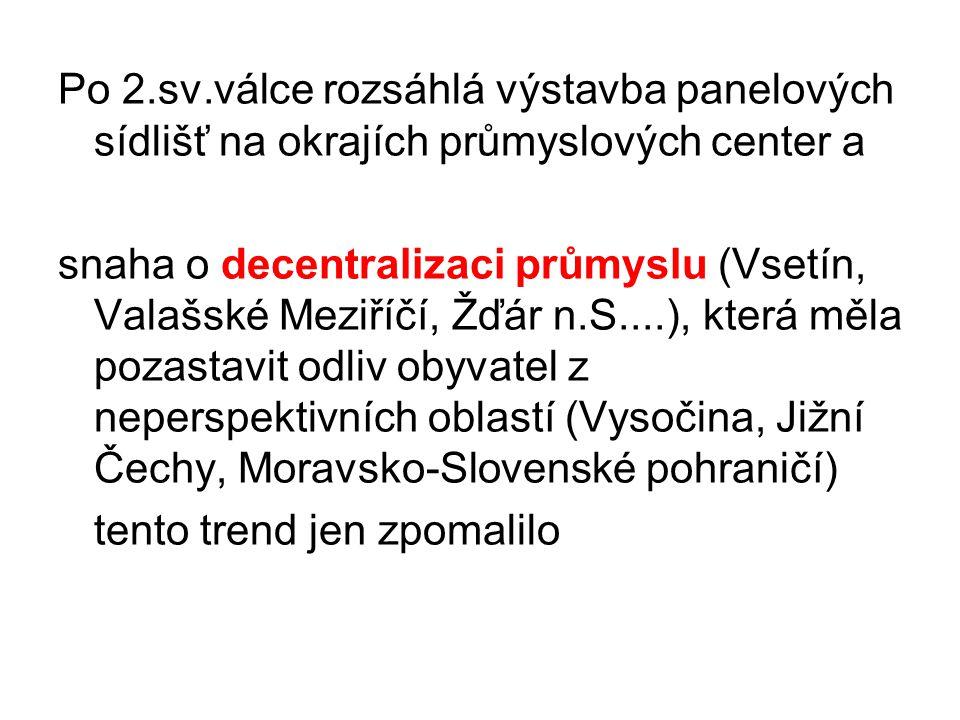 Vývoj vnitřní migrace po r.1989 urbanizace v Česku již 15 let stagnuje (75%) nově se uplatňuje suburbanizace – stěhování obyvatel z měst na předměstí (vyšší kvalita života a zdravější životní prostředí - spíše trendem střední a vyšší vrstvy obyvatel)suburbanizace
