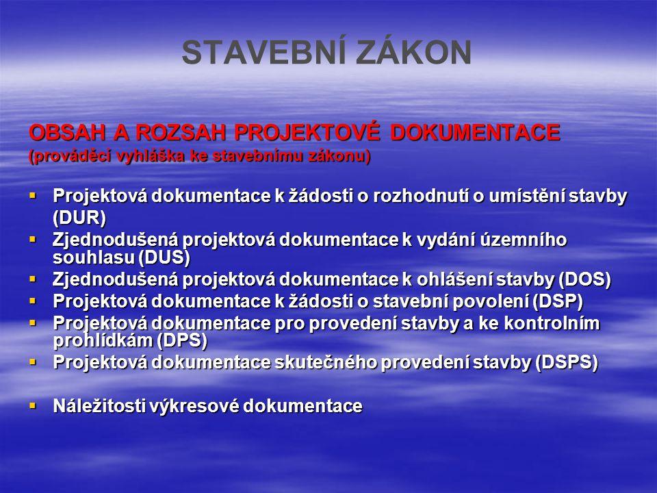 STAVEBNÍ ZÁKON OBSAH A ROZSAH PROJEKTOVÉ DOKUMENTACE (prováděcí vyhláška ke stavebnímu zákonu)  Projektová dokumentace k žádosti o rozhodnutí o umíst