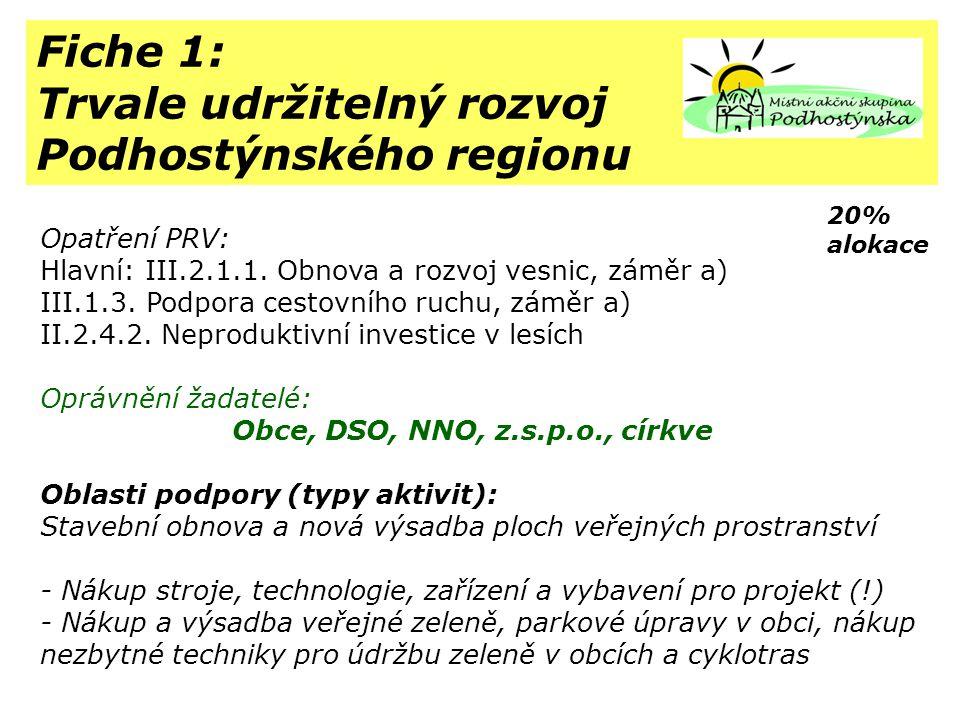 Fiche 1: Trvale udržitelný rozvoj Podhostýnského regionu Opatření PRV: Hlavní: III.2.1.1.