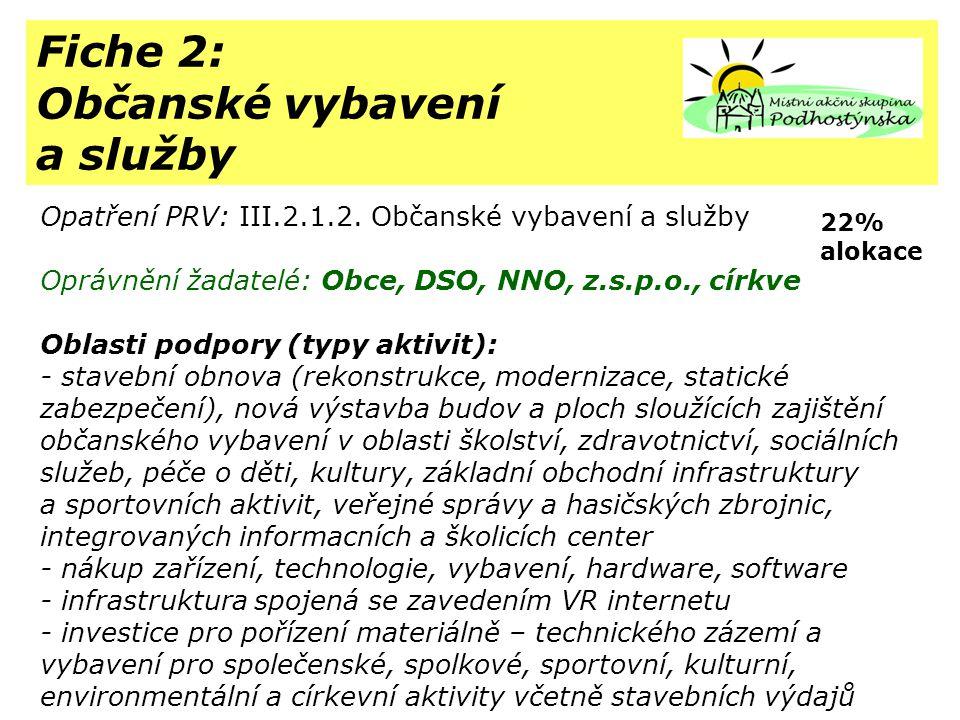 Fiche 2: Občanské vybavení a služby Opatření PRV: III.2.1.2.
