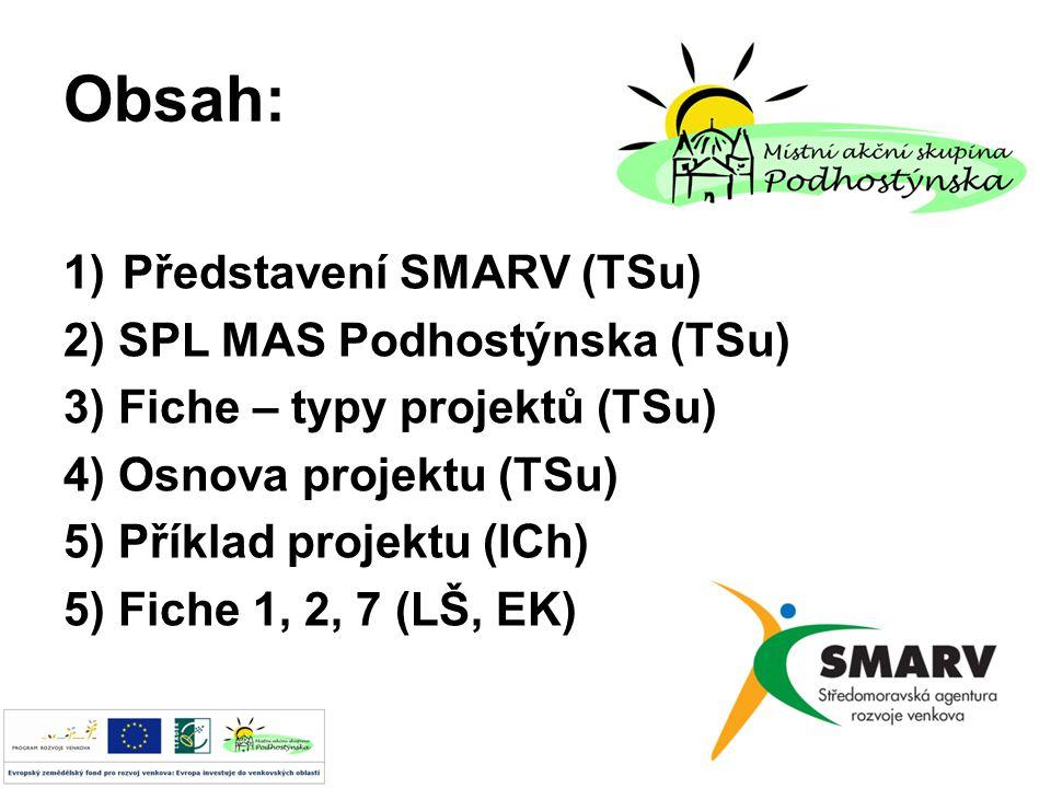 Obsah: 1)Představení SMARV (TSu) 2) SPL MAS Podhostýnska (TSu) 3) Fiche – typy projektů (TSu) 4) Osnova projektu (TSu) 5) Příklad projektu (ICh) 5) Fiche 1, 2, 7 (LŠ, EK)