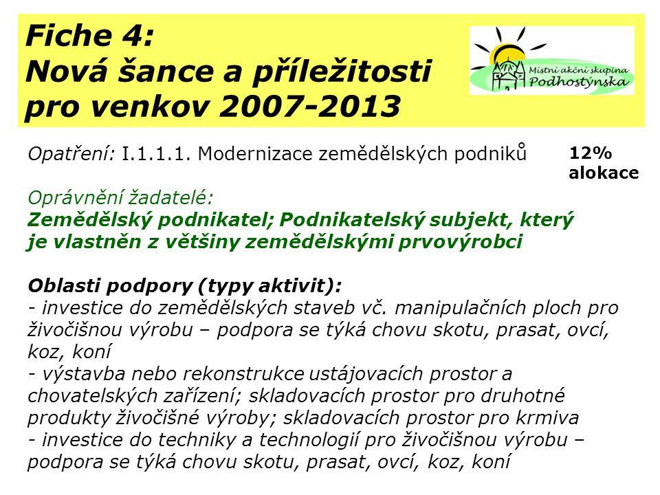 Fiche 4: Nová šance a příležitosti pro venkov 2007-2013 Opatření: I.1.1.1.