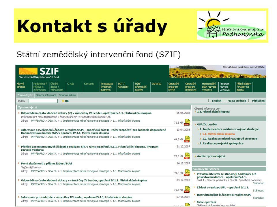 Kontakt s úřady Státní zemědělský intervenční fond (SZIF)
