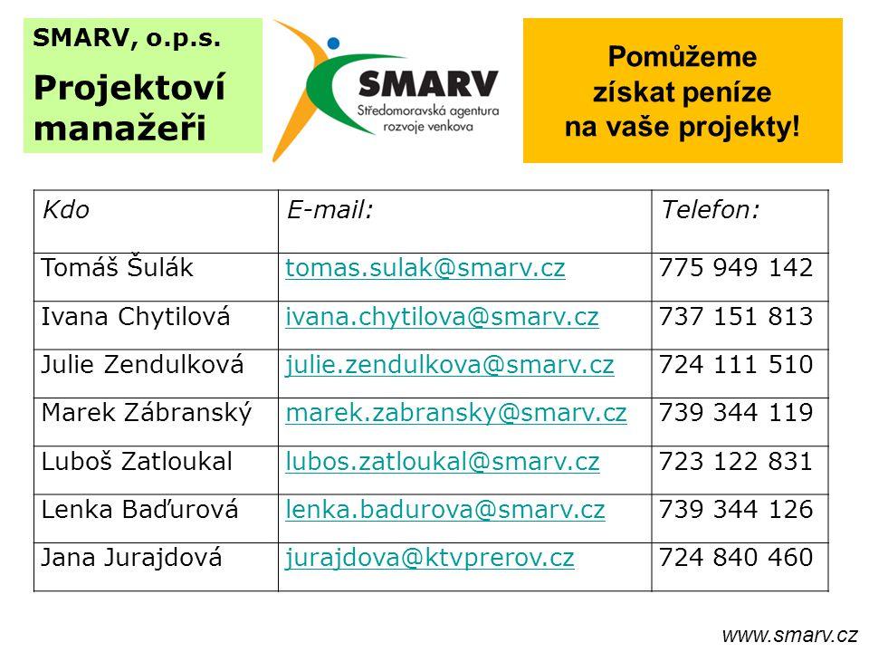 SMARV, o.p.s. Projektoví manažeři Pomůžeme získat peníze na vaše projekty.