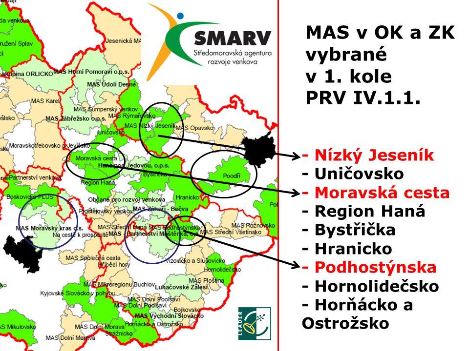 MAS v OK a ZK vybrané v 1. kole PRV IV.1.1.