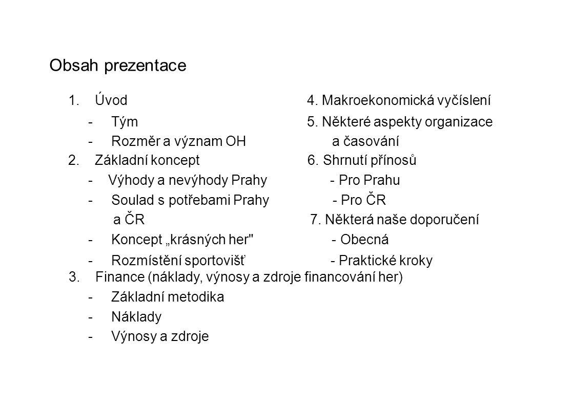Obsah prezentace 1. Úvod 4. Makroekonomická vyčíslení - Tým 5. Některé aspekty organizace - Rozměr a význam OH a časování 2. Základní koncept 6. Shrnu