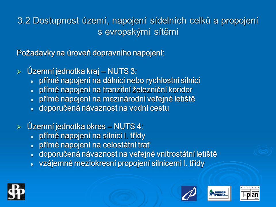 3.2 Dostupnost území, napojení sídelních celků a propojení s evropskými sítěmi Požadavky na úroveň dopravního napojení:  Územní jednotka kraj – NUTS