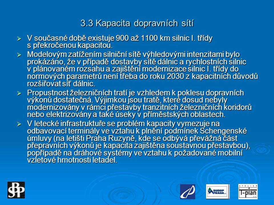 3.3 Kapacita dopravních sítí  V současné době existuje 900 až 1100 km silnic I. třídy s překročenou kapacitou.  Modelovým zatížením silniční sítě vý